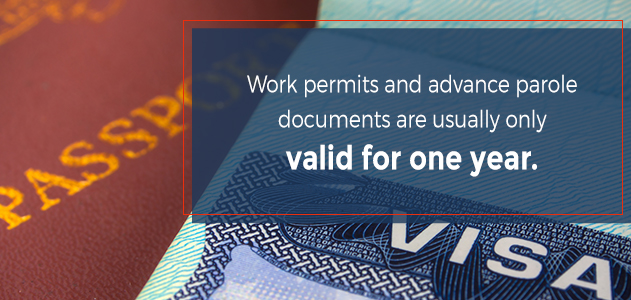 work permits and advanced parole are usually only valid for one year